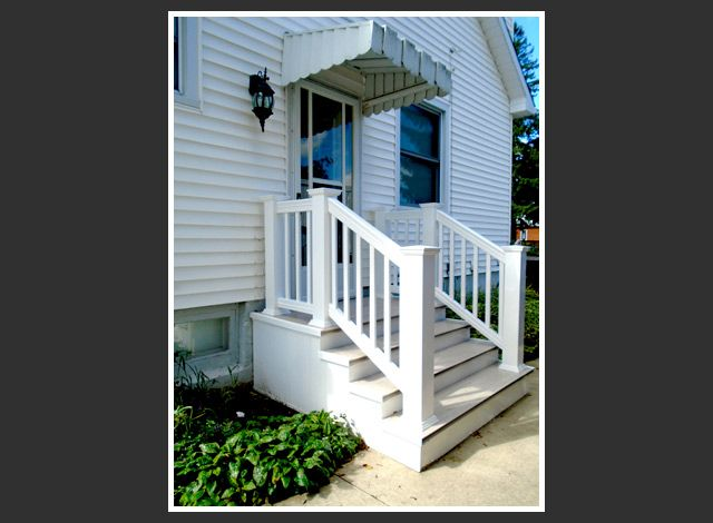 white railings and stairs