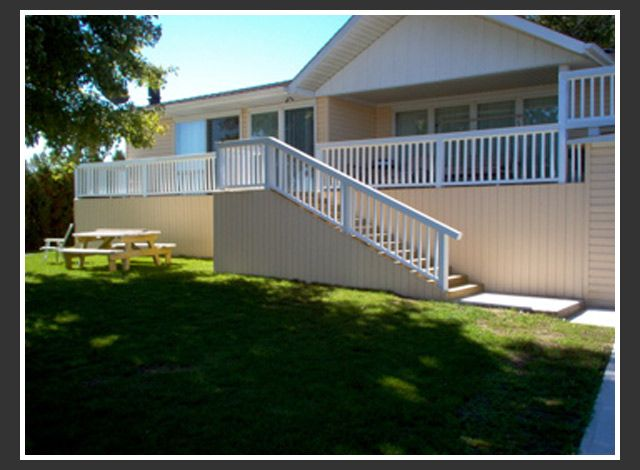 Large deck and railings