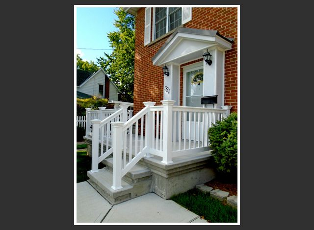 white railings on stairs